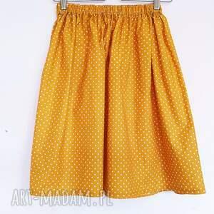 spódnice: Musztardowa Spódniczka w kropeczki - Hand Made zółć