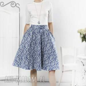niesztampowe spódnice spódnica niebieska porcelanowa