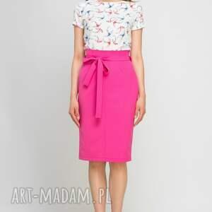 spódnice różowa ołówkowa spódnica z szarfą, sp115
