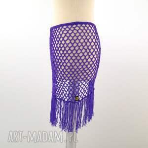 spódnice spódniczka pareo fioletowe ażurowe z frędzlami