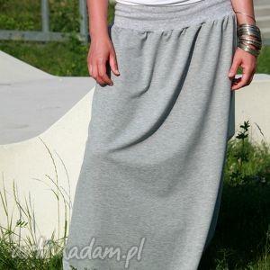 wyraziste spódnice spódnica dresowa maxi bawełna szara