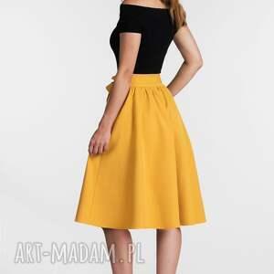 żółte spódnice spódnica iza midi miodowy