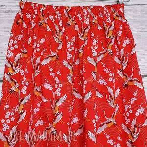 pomarańczowe spódnice rozkloszowana spódnica japońskie żurawie na