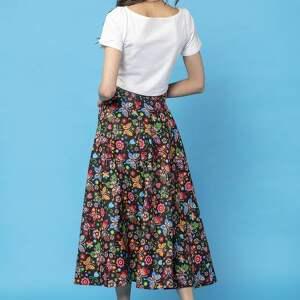 handmade spódnice spódnica midi z tkaniny bawełnianej