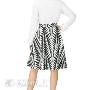 8ffd0697 Spódnica rozkloszowana z tkaniny, T202, czarno-biały wzór