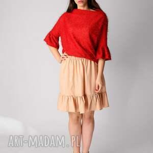 pomarańczowe spódnice nude spódnica z falbaną
