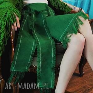ręczne wykonanie spódnice frędzle spódnica zielona
