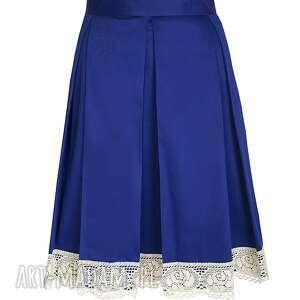 spódnice: Szafirowa spódnica z koronką koronka