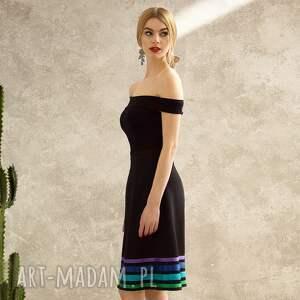 handmade spódnice czarna trapezowa spódnica w pasy cool