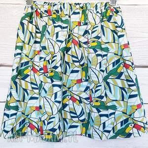 tukan spódnice zielone tukany na bawełnianej