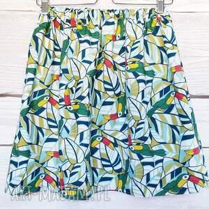 kolorowe spódnice nadruk w-tukany tukany na bawełnianej