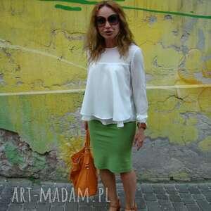 hand made spódnice spódnica zielona dzianinowa