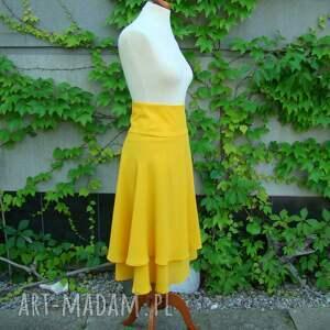 dwuwarstwowa spódnice żółta spódnica