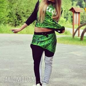 zielone spodnie blogerski dres z marihuaną komplet