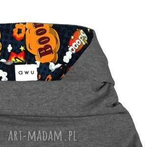 kolorowe spodnie dresowe bluza z komino - kapturem