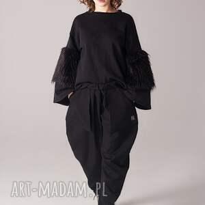 luźne spodnie czarne z kieszeniami