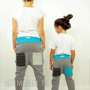 turkusowe spodnie komplet duet mama i dziecko (szary