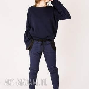 kontrast spodnie dwukolorowe bawełniane