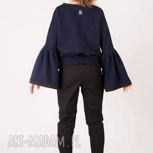 intrygujące spodnie kontrast dwukolorowe bawełniane