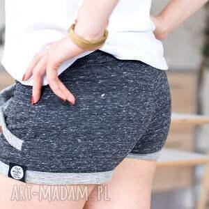 eleganckie spodnie fajne spodenki grafitowe krótkie szorty