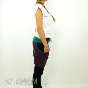 niesztampowe spodnie dres granatove damskie - baggy
