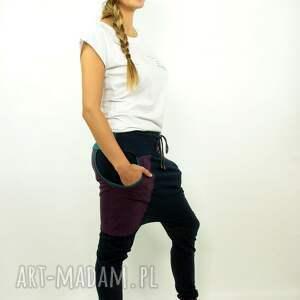 niebieskie spodnie yoga granatove damskie - baggy