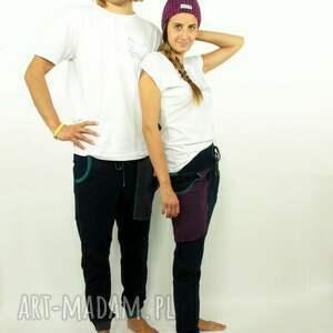 dresowe spodnie turkusowe granatove damskie - baggy