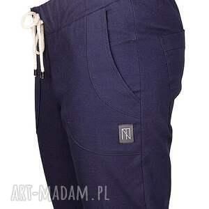 spodnie proste granatowe bawełniane