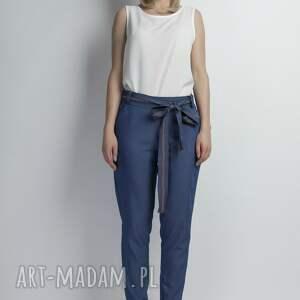 spodnie wiązane jeansowe z szarfą, sd110