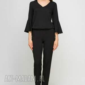 spodnie czarny zwiewny kombinezon z wąskimi nogawkami