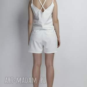 biały spodnie krótki kombinezon, kb104 ecru