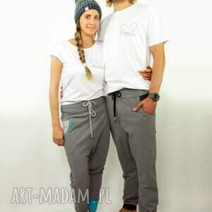 spodnie bawełna m szarave męskie - baggy