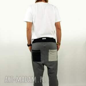 bawełna spodnie m szarave męskie - baggy