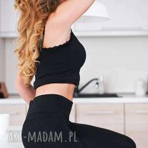 sportowe spodnie modne eleganckie legginsy czarne