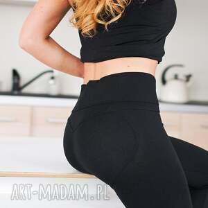 hand-made spodnie sportowe modne eleganckie legginsy czarne