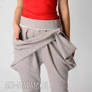 wiązanie spodnie szare metaliczne dresowe