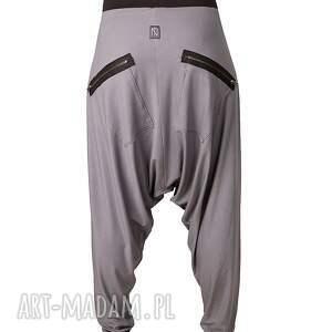 ręcznie wykonane spodnie aladynki szare z zamkami alladynki