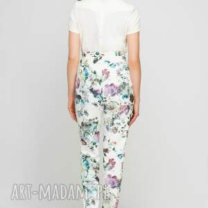 białe spodnie szarfa z szarfą, sd113 kwiaty