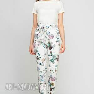 LANTI urban fashion spodnie: z szarfą, SD113 kwiaty - wysokie