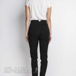 spodnie: z wysokim stanem, SD112 czarny - długie czarne