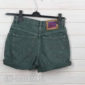 nietypowe spodnie spodenki zielone dżinsowe szorty