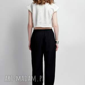 spodnie luźne zwiewne spodnie, sd105 czarny