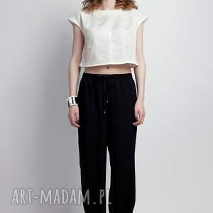trendy spodnie pumpy zwiewne spodnie, sd105 czarny