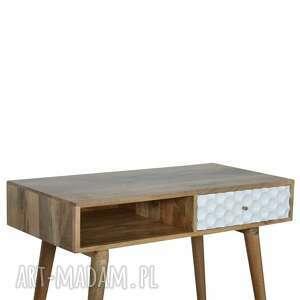 styl nordycki stoły biurko drewno konsola z szufladą