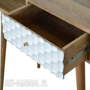 brązowe stoły lite drewno biurko konsola z szufladą