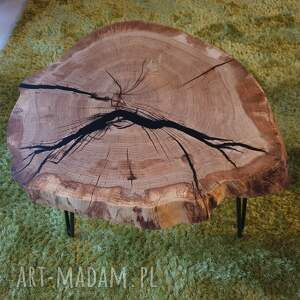 Sciete i pociete stoły: Stolik kawowy dębowy plaster drewna żywica - loft