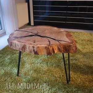 stoły: Stolik kawowy dębowy plaster drewna żywica - loft
