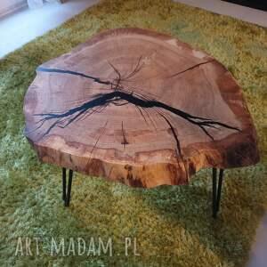 beżowe stoły stolik kawowy dębowy plaster drewna