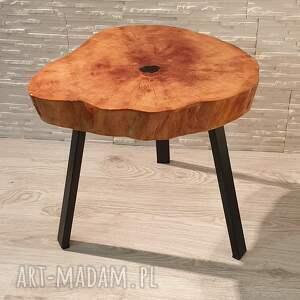 Stolik drewniany z żywicy epoksydowej - plaster olchy - żywica drewno