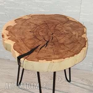 beżowe stoły drewno stolik drewniany z żywicy